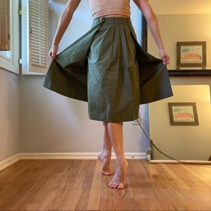 Vintage Pleated Skirt with Flaps Army Green